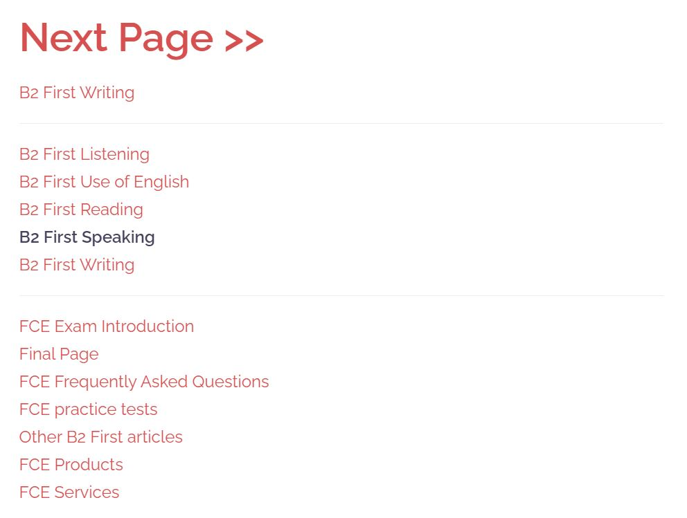 b2 first speaking page contents