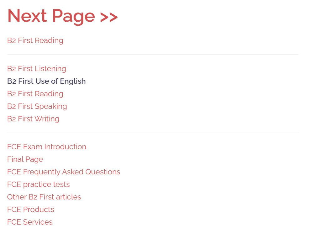 first use of english page contents