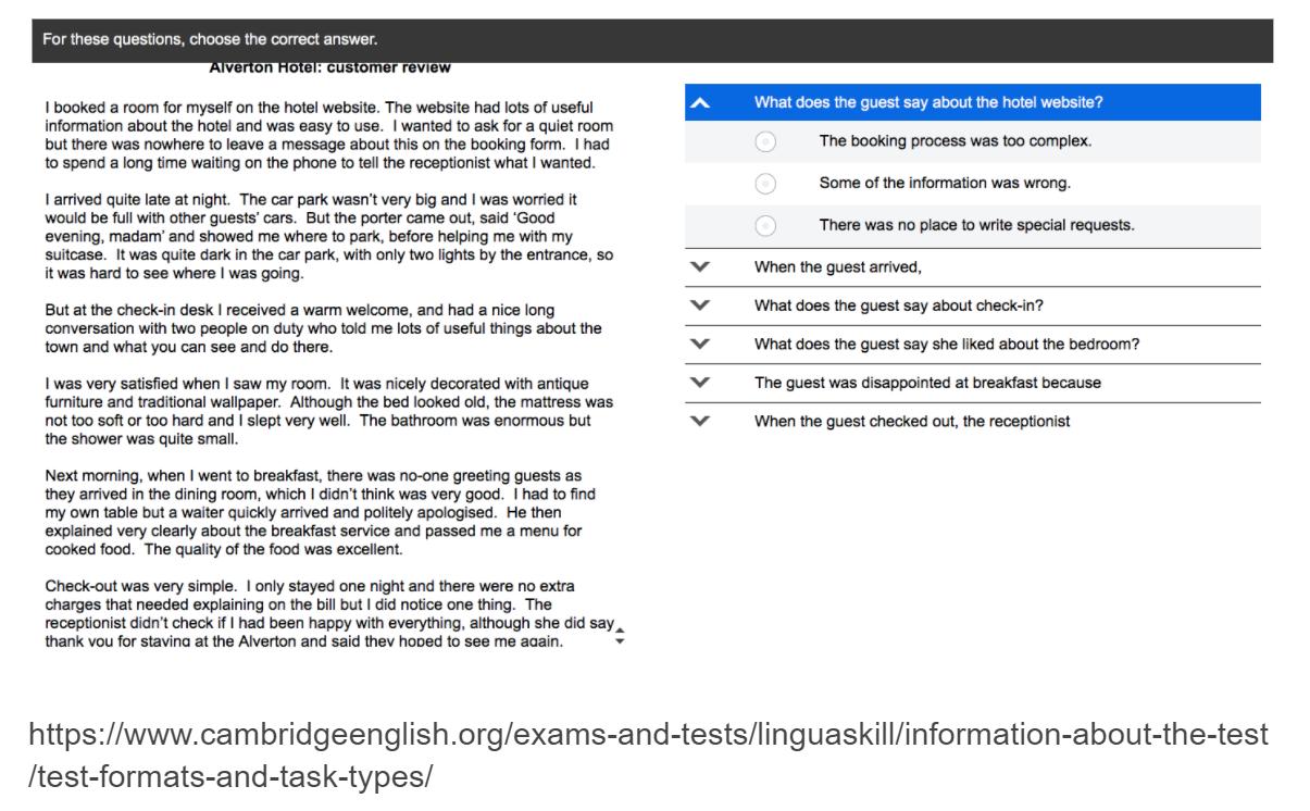 Linguaskill Extended Reading