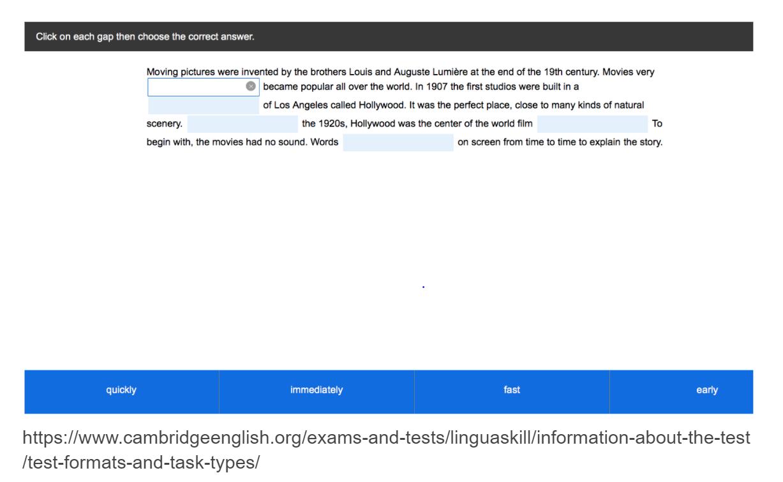 Linguaskill reading multiple-choice gap fill