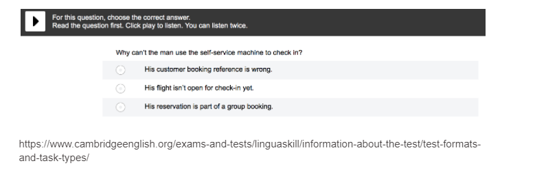 Linguaskill listen and select question