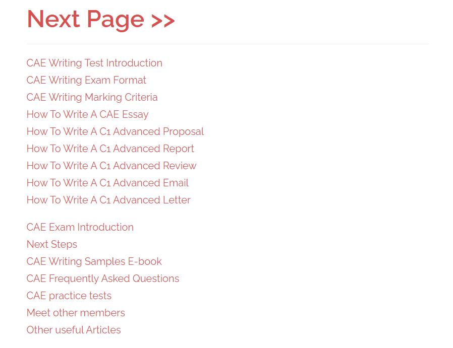 CAE writing test